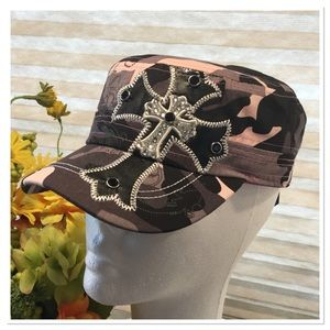 Accessories - Pink Camo Embellished Cap